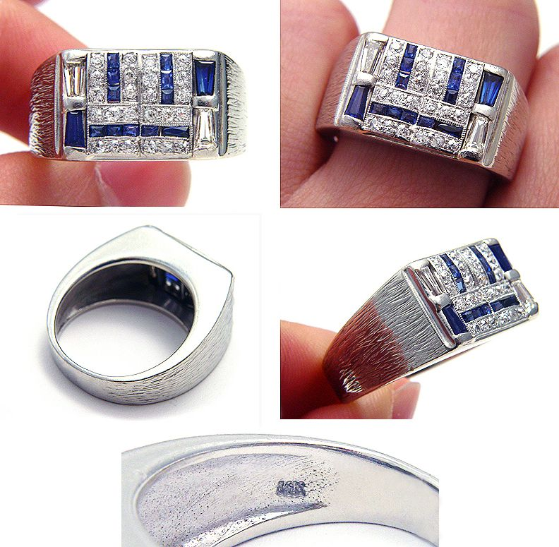 RARE ANTIQUE ART DECO BLUE SAPPHIRE DIAMOND SOLID WHITE GOLD MENS