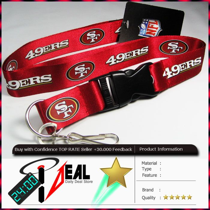 NFL SAN FRANCISCO 49ERS OFFICIAL LANYARD KEY CHAIN ID RED